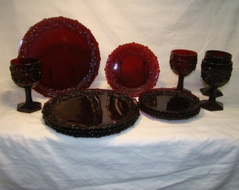 Lovely Vintage Avon 1876 Ruby Red Cape Code 12 Pc Service for 4