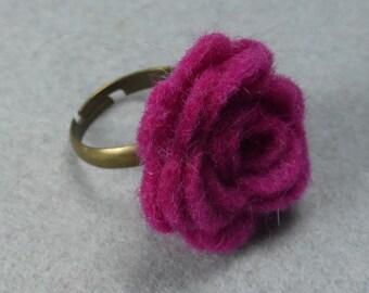 Pink Flower Ring - Fuchsia Rose Ring -Felt Flower -Felt Ring -Adjustable Ring -Artificial Flower -Fake Flower -Flower Jewelry -Felt Jewelry