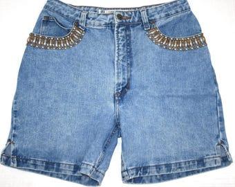 "VINTAGE! Women's Lee Klein High Waisted Blue Jean Shorts Size 15/16 - 30"" Waist"