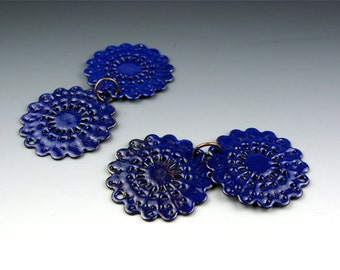Enameled Round Filigree / Cobalt Enamel / Made to order