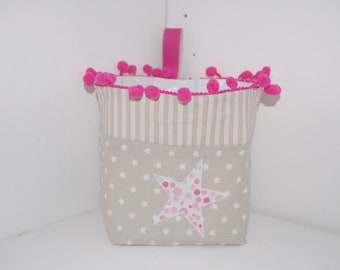 Tidy / basket / pouch cotton beige and pink - star pattern