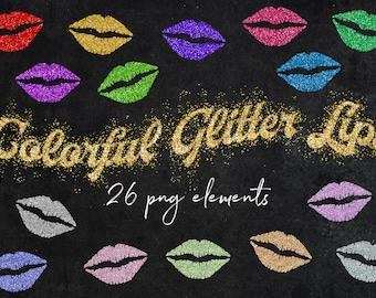 Lips Clipart, Sparkly Glittery Lips, Glitz Clipart, Rainbow Color Palette, Glitter Lips Images, Commercial Use, Glitter Textures, BUY3FOR6