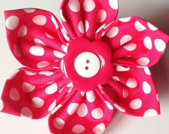Pink and White Polka Dot Flower for Female Dogs and Cats