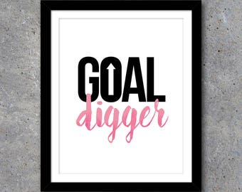 Goal Digger Office Artwork in 3 Colors – Printable Art Instant Download – Home Office Decor – Motivational Art – DIY Gallery Wall Ideas