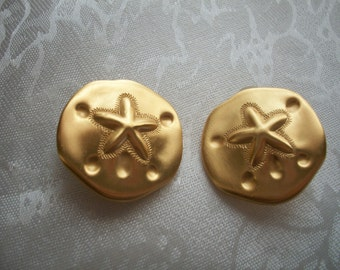 Vintage Yellow Gold Tone Sand Dollar Clip On Earrings, Nanas Vintage Shop on Etsy