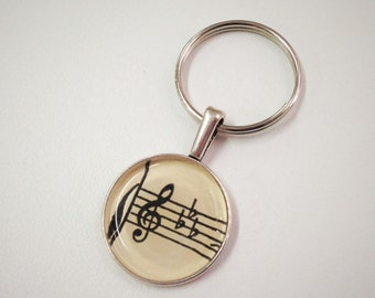 NEW Vintage Map Keychain fob- Vintage Sheet music - G Clef