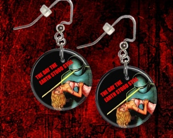 """The Day The Earth Stood Still Movie Gort 1"""" Button Dangle Earrings FREE PIN USA Seller"""