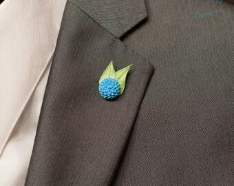 """Light Blue Dahlia 0.5"""" Lapel Pin / Flower Lapel Pin / Chrysanthemum Lapel Pin, Men's Lapel Pin"""
