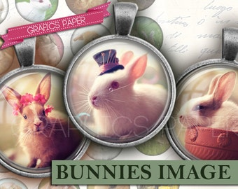 """Bunnies, Rabbits Image Collage Sheet inch Round Circles for Bottle Caps, Digital Collage Sheet, 1.5"""", 1.25"""", 30mm, 1 inch Circles td332"""