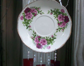 Cranberry Red and Pink Roses on Dish Repurposed and Upcycled into a Windchime with Stained Glass Chimes