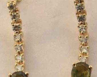 Ladies 14K Yellow Gold Green Sapphire Diamond Earrings New