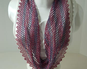 Handwoven beaded scarf in raspberry and blue (a scarf made completely of beads)
