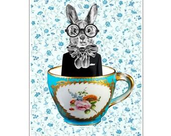Rabbit Print, Rabbit Art Print, Rabbit Bunny Print, Rabbit Art, Bunny Print, Rabbit Wall Art, 8x10,Turquoise, Wall Decor, Women, Art Print
