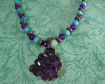Amethyst and Pyrite Necklace, Amethyst Pendant Necklace, Amethyst, Pyrite and Jasper Necklace