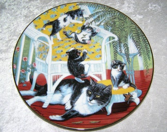 1988 Just for the Fern of It Fine Porcelain Plate, Country Kitties Series,  The Hamilton Collection