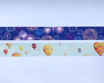 "Fireworks or Hot Air Balloons Washi Tape 24"" Sample - MASTÉ Japanese Washi Tape"