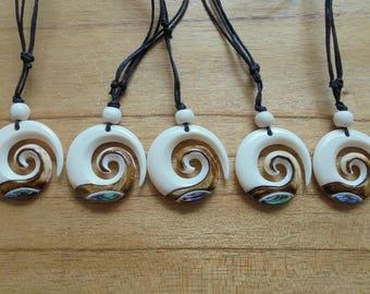 Maori Koru Spiral Bone Necklace with Paua Shell Inlay and Antique Color, Bone Pendant, Bali Bone Carving Jewelry M13
