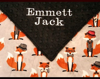 Personalized Baby Boy Fox Blanket~Blankets for Boys~Embroidered Nursery Blanket~
