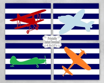 Printable Antique Vintage Planes Airplanes Bi-planes Navy Stripes Nursery Wall Art Decor Baby Child Kids ~ DIY Instant Download ~ 4 8x10