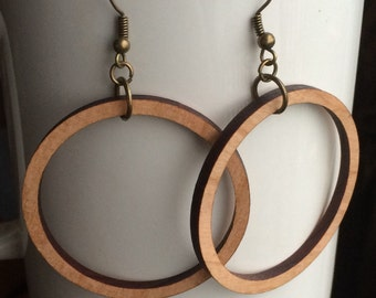 Wood Hoop Earrings Cherry Laser Cut Earrings Joanna Gaines HGTV Wood Inspired Hoops Wood Earrings Fixer Upper HGTV