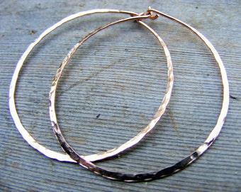 Rose Gold Hoops, Skinny, Slim, Big, Thin Hammered Hoop, Simple Light 14kt Pink Gold Filled Hoops Earring