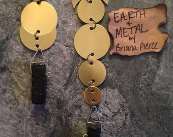 Handmade Asymmetrical Lava Stone & Brass Earrings