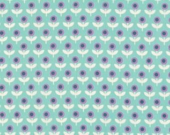 Voile Fabric - Joel Dewberry Modernist Tulip March in Aqua Voile Fabric by the Yard - Lightweight Fabric - Summer Dress Fabric -Floral Voile