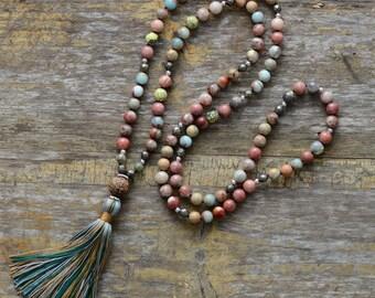 Mala Beads Natural Stone Tassel Necklace, Colorful Semi Precious Stone Beaded Necklace Handmade