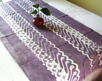 batik tea towel hand dyed in earth purple