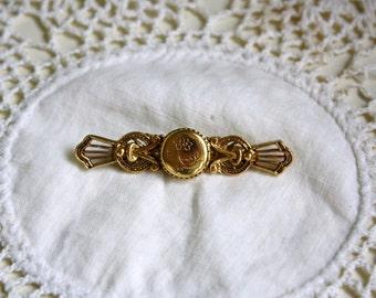 Vintage Gold Filled Bar Pin Locket Brooch Floral Etching