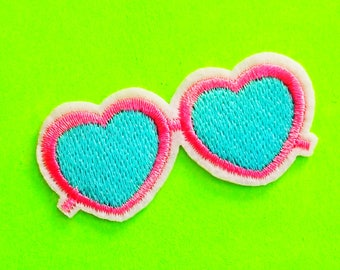 Heart Sunnies Sunglasses Summer Fun Pink and Turquoise Blue Retro Rad Embroidered Iron or Sew On Patch