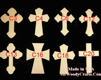 """5 9"""" x 12"""" 1/2"""" Thick Unfinished Wooden Crosses, Choose from 8 different styles, Ready to Paint, w/key holes. 091250-5"""