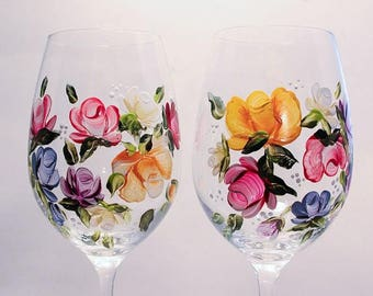 Hand Painted Wine Glasses Bouquet/Nosegays Pair