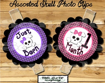 Baby Girl First year photo clip banner newborn to 12 months first birthday 12 month banner Skull banner first year banner RIBBON INCLUDED