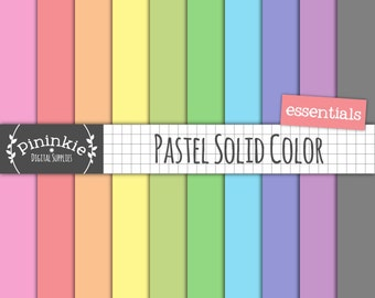 Pastel Solid Digital Paper, Pastel Scrapbook Paper, Card Making Printable, Instant Download