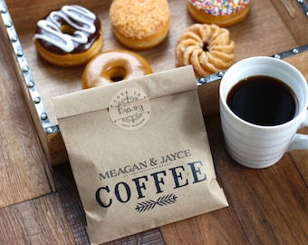 Coffee favor bags. Available in white or Kraft Wax Lined Bags. Personalized Wedding Favor Bags