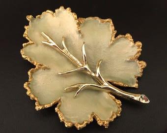 BSK Pale Green Enamel and Gold Leaf Brooch