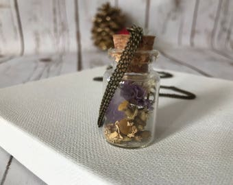 Amethyst and lavender vial necklace