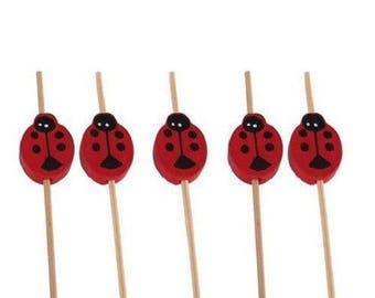 "Lady Bug Bamboo Picks Skewers - 4.7"""