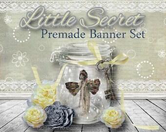 """Premade Shop Banner Set - Premade Etsy Banner Set - Etsy Shop Banner -  Avatar - Facebook - """"Little Secret"""" Banner set"""