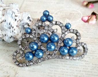 4 Stk KÖNIGSBLAU Perlen atemberaubende Tiara gekrönt Prinzessin Crystal Strass-Knöpfe, Crystal Tiara Bow Verzierung