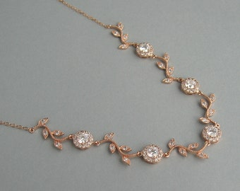 Bridal Jewelry, Bridesmaid Gift, Rose Gold Pleated Necklace, Cubic Zirconia Jewelry, Rose Gold Necklace, Rose Gold Plated Jewelry - DK792