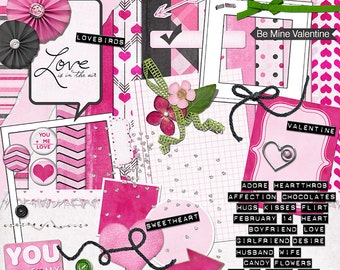 Valentine digital scrapbook kit with hearts, rosettes, flowers, yarn, felt and beads in pinks, white, black and green - You Have My Heart