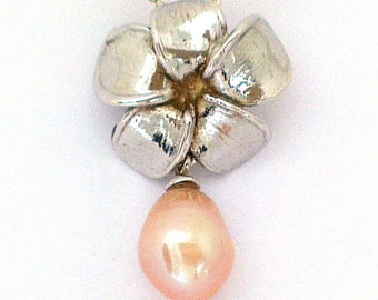 Frangipani Blossom Pendant, with Pink Fresh Water Pearl in solid Sterling Silver.