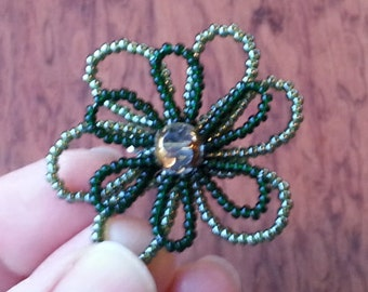 Brooch, beaded flower pin, handmade, floral jewelry, green, beads flower brooch, bright bead art, pin and earrings, holiday for her gift 05