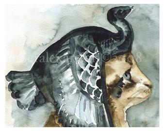 Cleocatra  Art Print, cat art