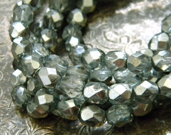 Silver Sage (30) -Czech Glass Faceted Rounds 6mm