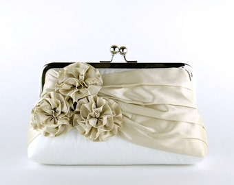 Roses Silk Clutch in Champagne, Wedding clutch, Wedding purse, Bridesmaid clutch, Wedding bag, Bridal clutch