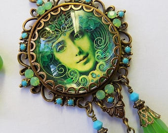 Boho Pendant, Art Nouveau Necklace, Art Nouveau Jewelry Set, Cameo Necklace, Cameo Pendant, Gypsy Necklace, Necklace, Gift for her, Gypsy