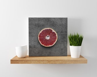 ruby grapefruit // food photography print // canvas print // kitchen wall art // dining room wall art // rustic wall art // citrus fruit
